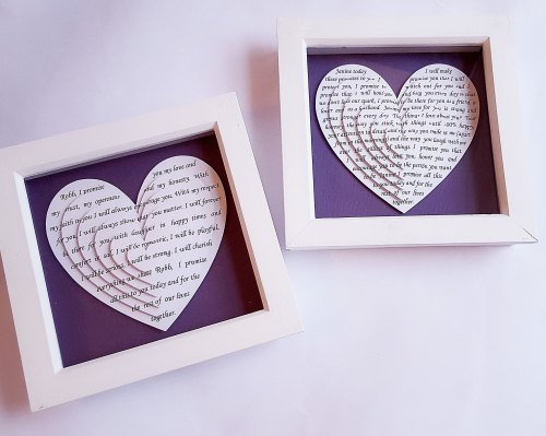 Small Framed Layered 3d hearts 6 x 6 inch his and her vows