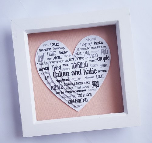 Small Framed Layered hearts 3D Word Cloud 6 x 6 inch