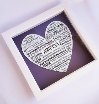 Large Frame gift, Layered hearts 3D Word Cloud 9 x 9 inch. Personalised gift for all ocassions