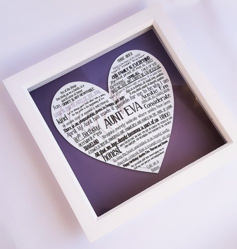 Large Framed Layered hearts 3D Word Cloud 9 x 9 inch