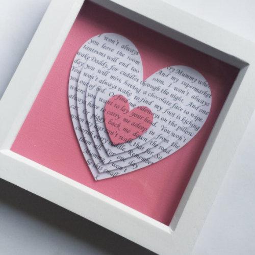 Framed 3d layered hearts, 'I won't always cry Mummy' poem newborn baby girl