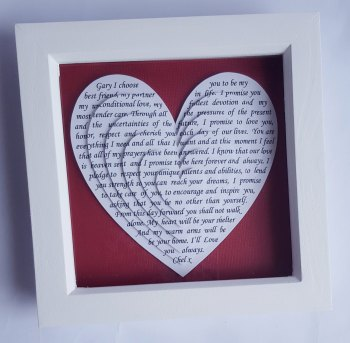 Small Layered 3d hearts, Anniversary Gift, 6 x 6 inch, Wedding vows gifts, Song words, lyrics, Poem, Reading, Frame gift