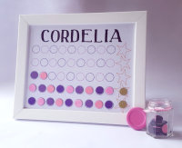 Girls personalised Framed Magnetic Chore and Behaviour Chart, Daily Reward Charts, Command centre, Reward System