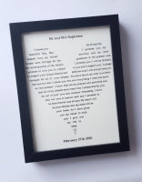 Framed heart, Anniversary gift, wedding framed gift with your own wording, poem, wedding vows, reading, song. Unique gift ideas. Cream and Black