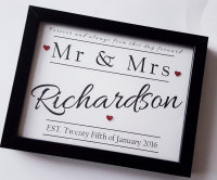 Wedding framed gift, personalised with newly married name and date, Unique gift ideas, bride and groom