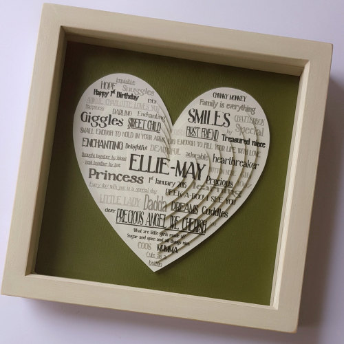 Unusual New Baby Gift Ideas : Hearts quotes word cloud art descriptive phrases