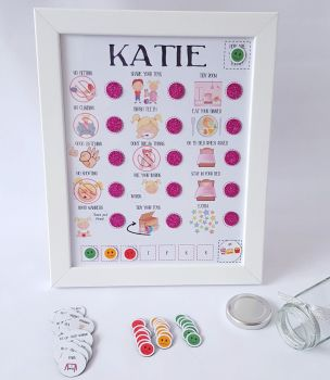 Girls pre-school, Imagery Reward Chart, Personalised Framed Magnetic Reward Chart, Early Years, Toddler, ASD, GDD, PECS, Visual Aid Chart