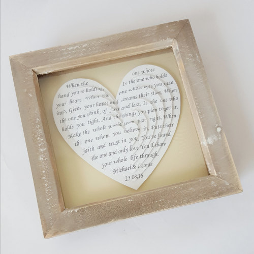 Rustic Wooden frame, Small 3d hearts 6 x 6 inch, wedding vows, anniversary
