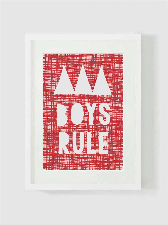'BOYS RULE' red and white Print, kids wall art, baby nursery wall, bedroom