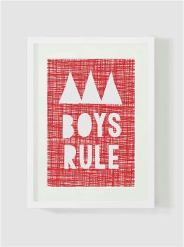 Red and white, 'BOYS RULE' Print, Kids Wall Art, Baby Nursery Wall, Bedroom Decor, Home Decor, UNFRAMED