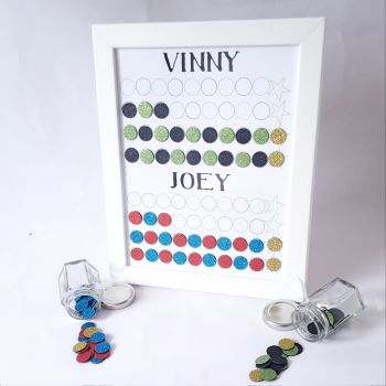 Boys Framed Magnetic Reward Chart, Chores and Behaviour, designed for 2 children, great for pocket money or small treats