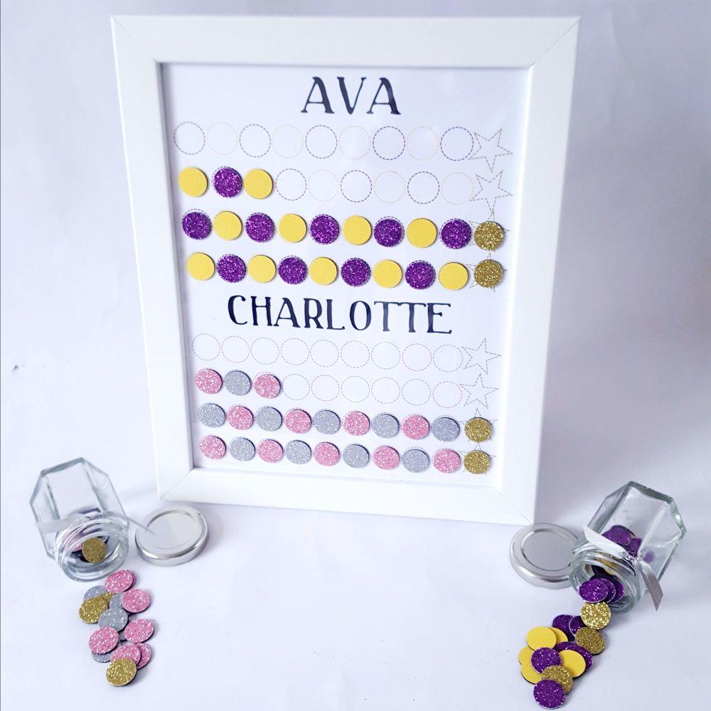 Girls fully personalised Magnet Chore and Behaviour Reward Chart, designed