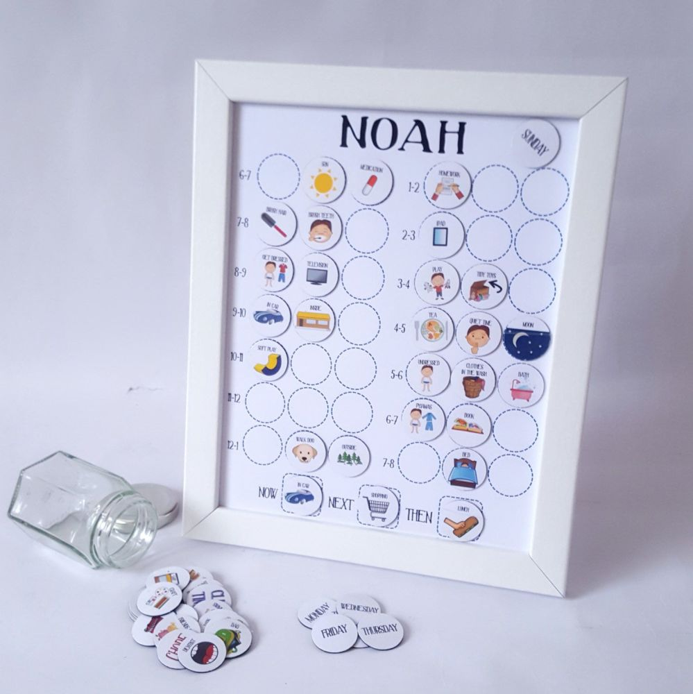 Boys pre-school, Imagery Now and Next Board, Personalised, Framed Magnetic