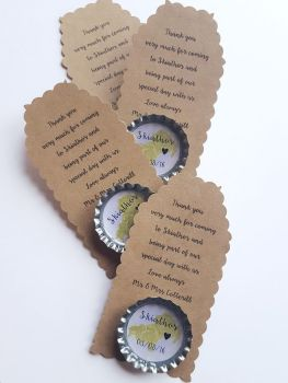 Personalised Wedding Favours, Wedding Party gifts, Magnets with bespoke tag. Completely bespoke to your needs **1 free with every 10 ordered**