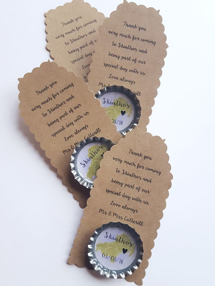 Personalised wedding favours gifts magnets with bespoke tag. Completely bes