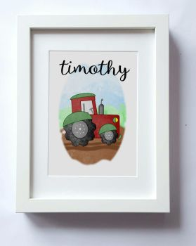 Tractor wall art, boys nursery wall, kids bedroom decor, On the farm home decor, vehicles kids bedroom UNFRAMED