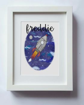 Space Print, Rocket Ship wall art, boys nursery wall, kids bedroom decor, home decor, UNFRAMED