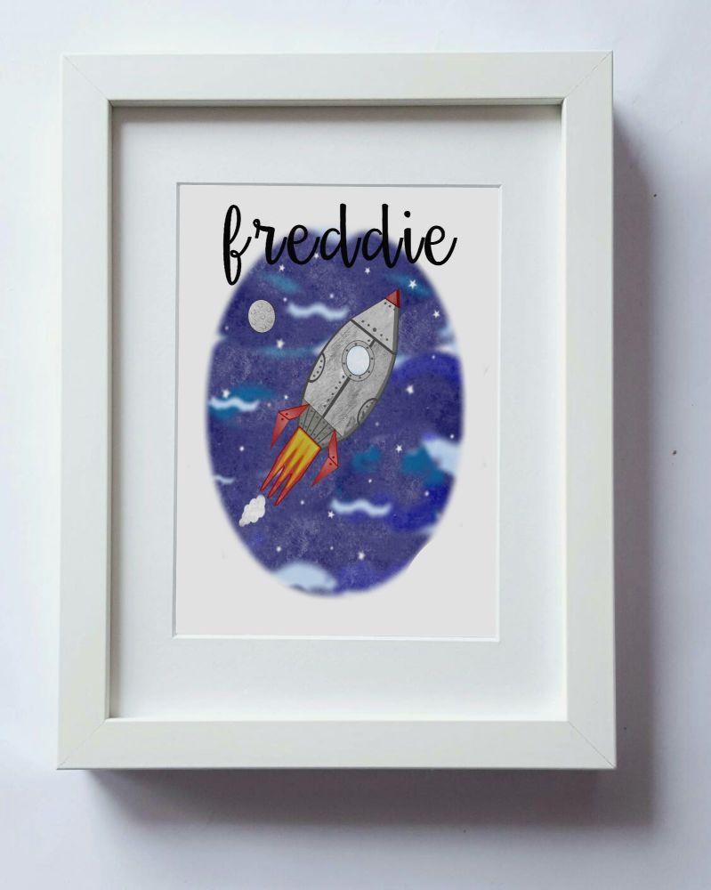Space Print, Rocket Ship wall art, boys nursery wall, kids bedroom decor, h