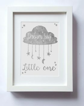 Dream big little one, stars and moon, boys nursery wall, kids bedroom decor, home decor, kids bedroom UNFRAMED