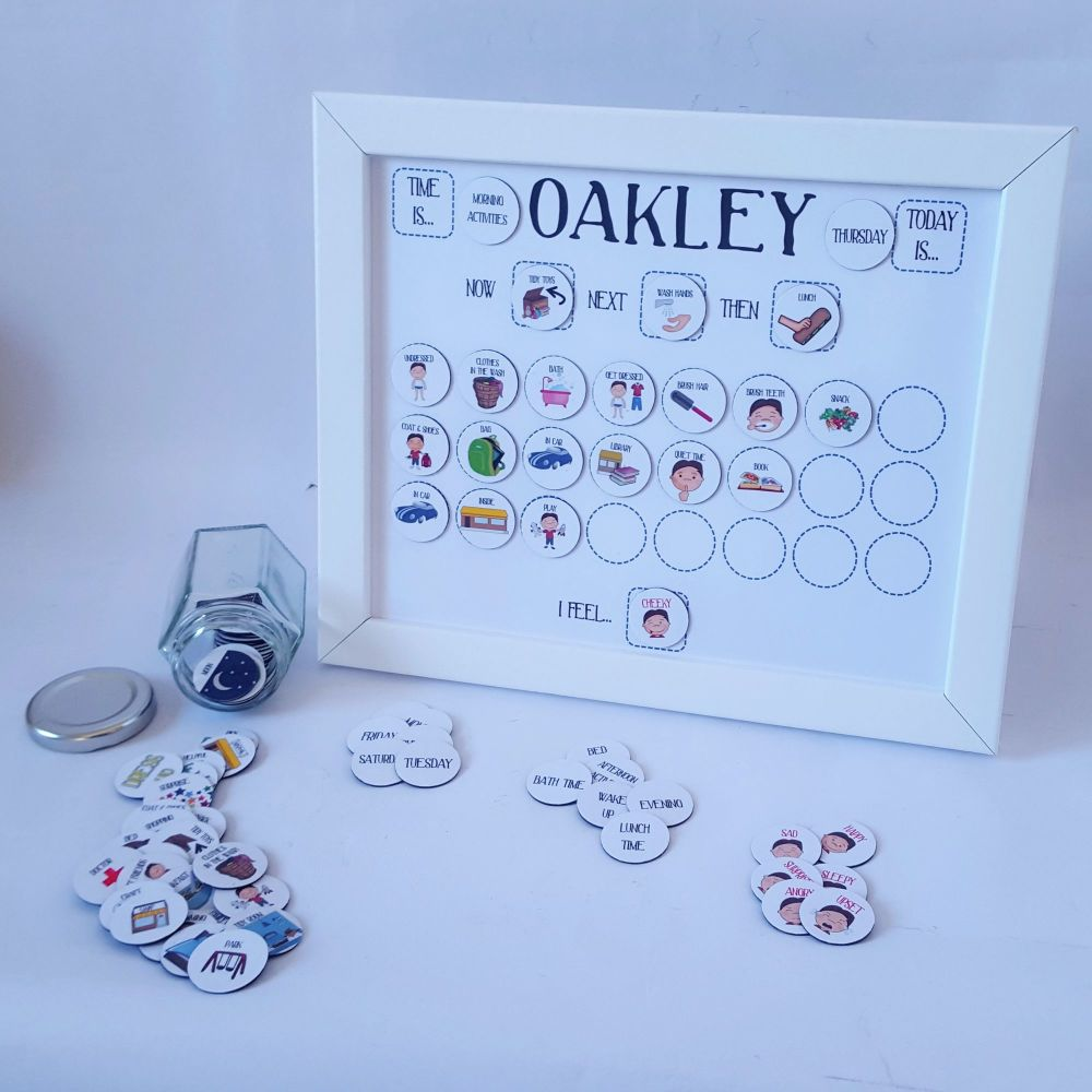 Imagery Now and Next Board, Personalised early years, Framed Magnetic Routi