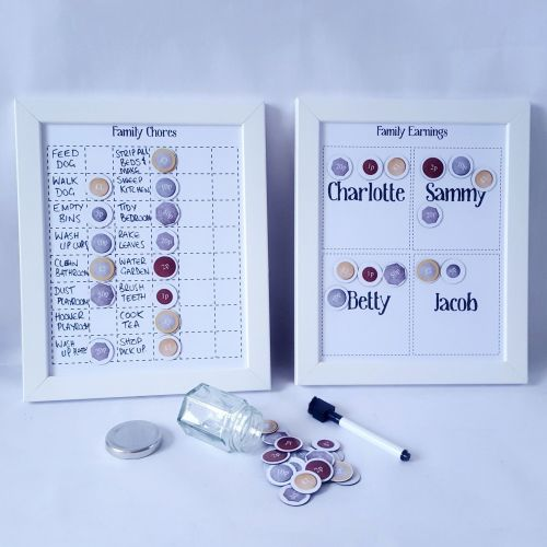 Family Charts, Chores, tasks and Jobs chart, with pocket money magnets, des