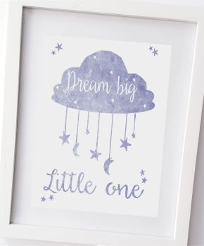 Dream big little one, in blue stars and moon, boys bedroom, nursery wall, kids bedroom decor, home decor, kids bedroom UNFRAMED