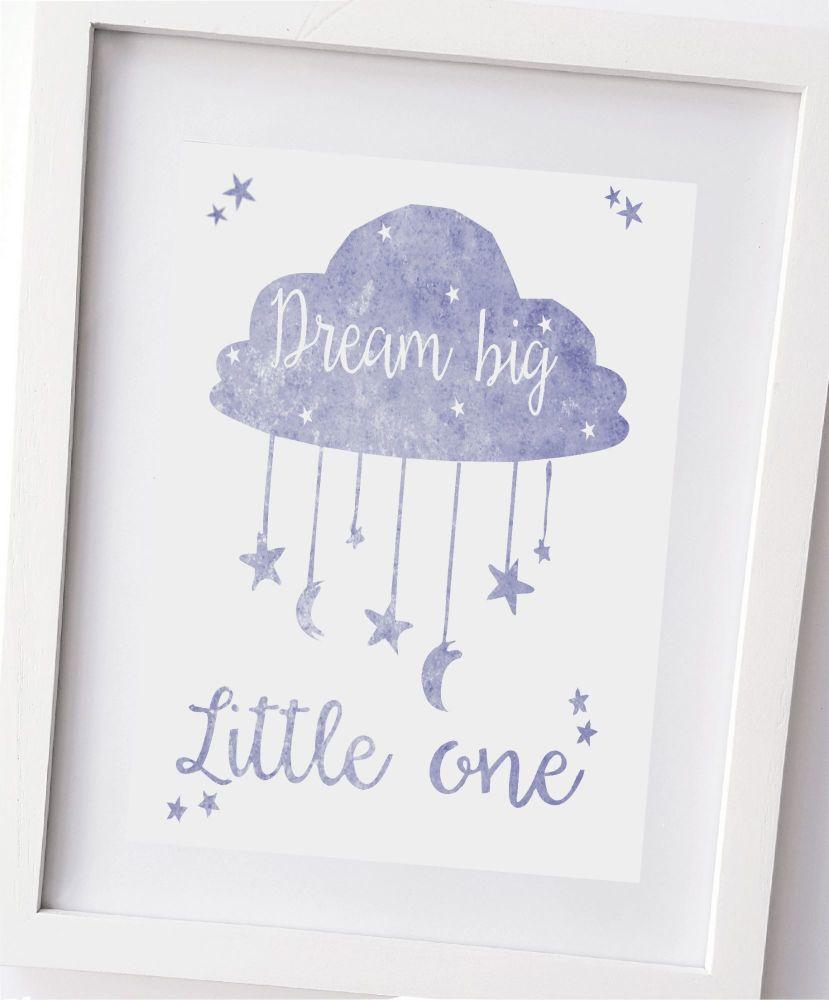 Dream big little one, in blue stars and moon, boys bedroom, nursery wall, k