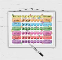 Colourful Reward Chart, Kids daily Checklist with rewards. Childrens Tasks, Chore chart, For Boys and Girls, Dry erase wipe board