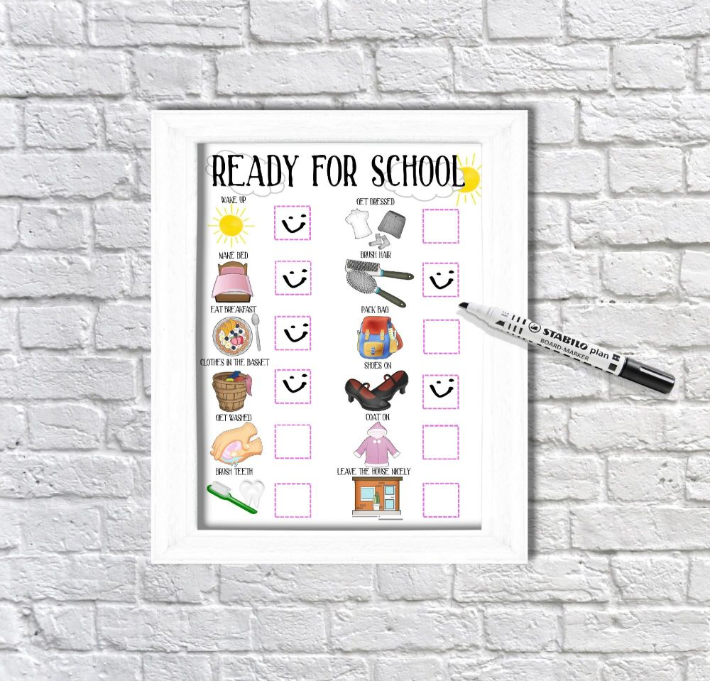 Ready for school, daily Planner, with pictures, Girls visual schedule, Morn