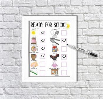 Ready for school, daily Planner, with pictures, Girls visual schedule, Morning Routine