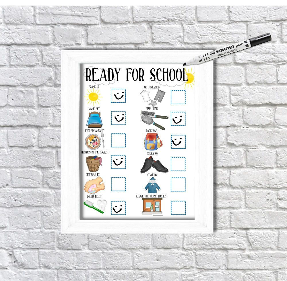 Ready for school, daily Planner, with pictures, Boys visual schedule, Morni