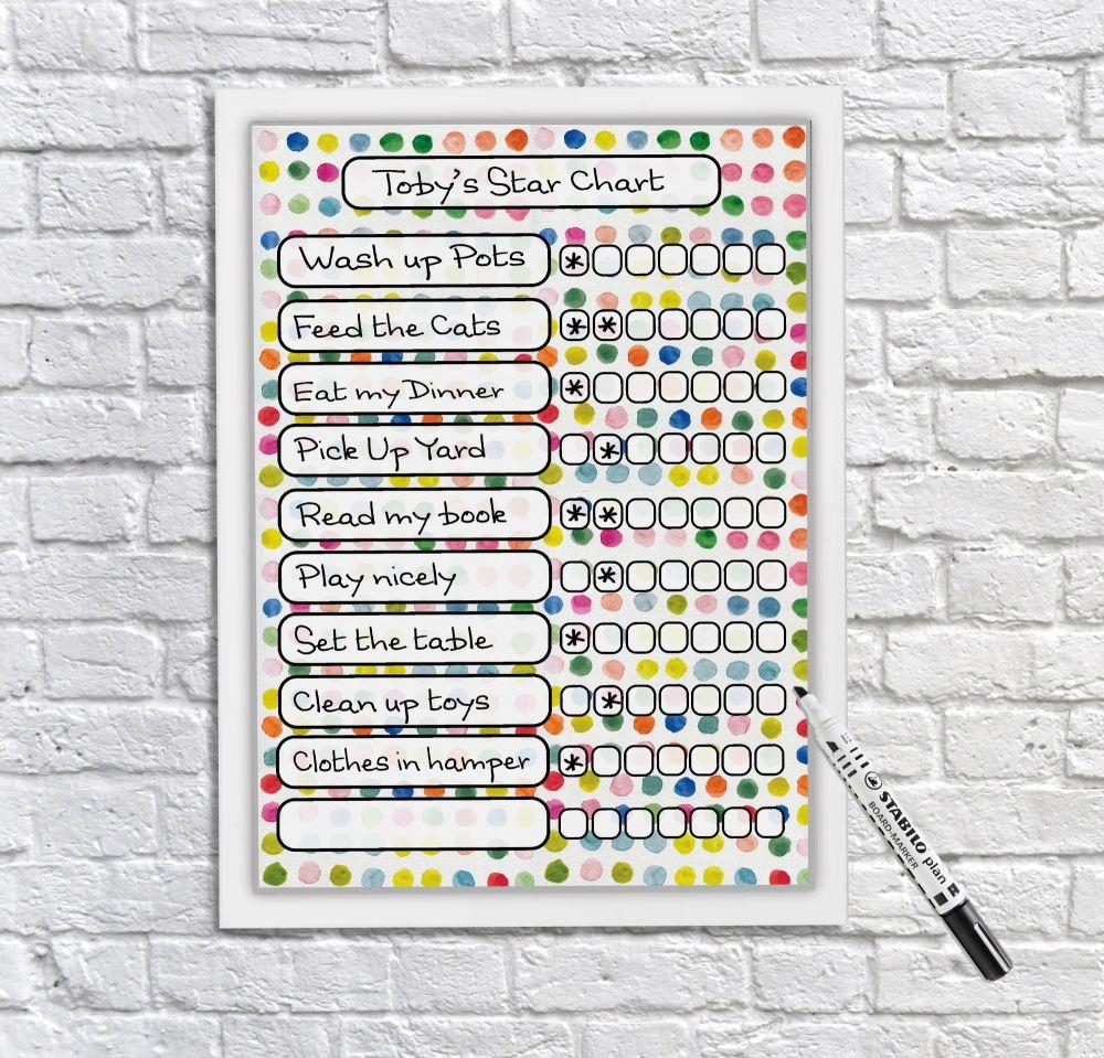 Kids Reward Chart, Chore Chart, kids whiteboard, Kids reusable behaviour ch