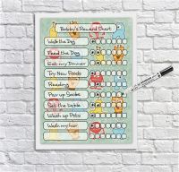 Kids Reward Chart, Monsters, kids reusable chore chart, weekly schedule, behaviour chart, For Boys and Girls, Dry erase Planner, Dry Wipeboard