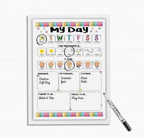 Kids daily Planner, All about my day, Daily Schedule, dry wipe board, Now a