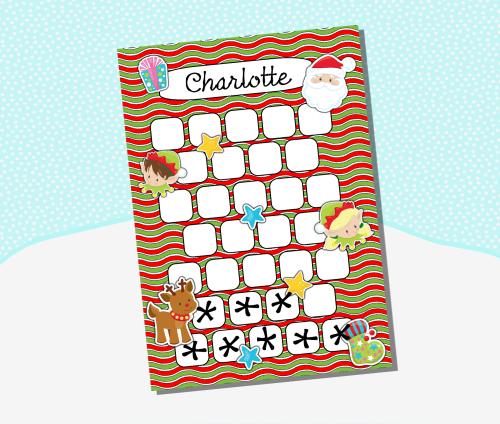 Children S Christmas Reward Chart Elf And Santa Behaviour Sticker C