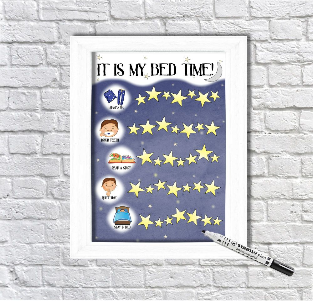 Boys Bed Time Routine, Star Chart, Sticker Chart, It's my bedtime, Getting