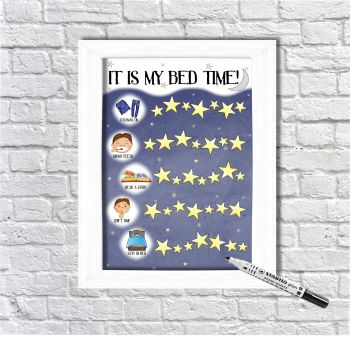 Boys Bed Time Routine, Star Chart, Sticker Chart, It's my bedtime, Getting Ready for Bed