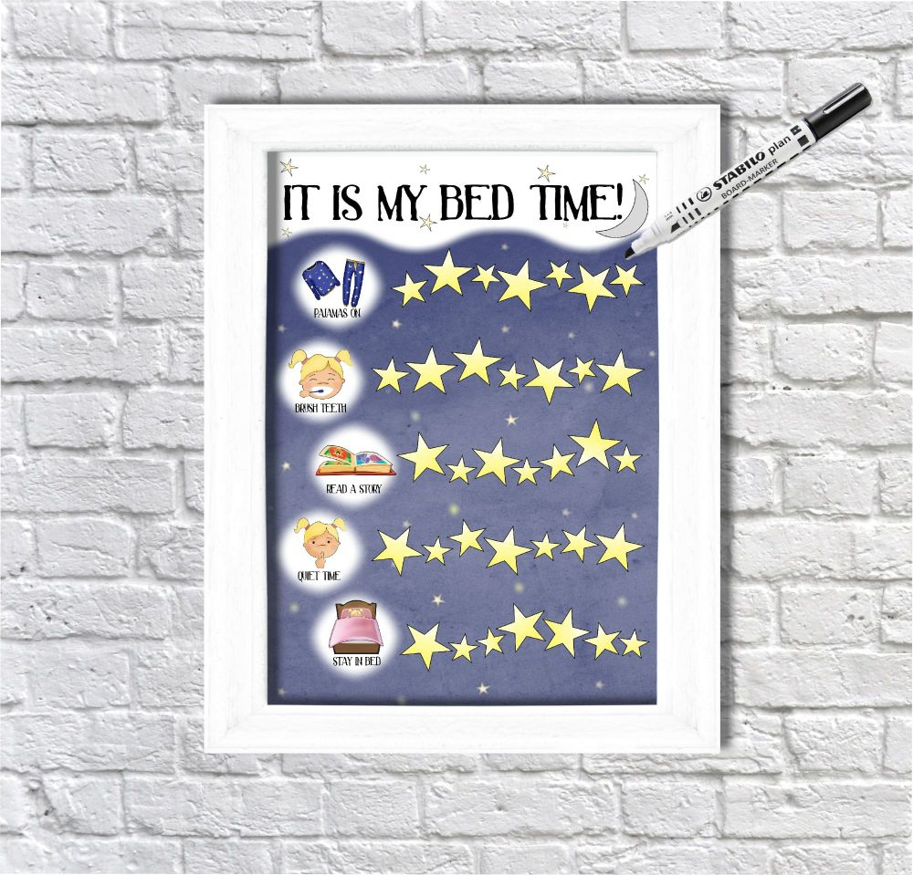 Bed Time Routine Girls, Star Chart, Sticker Chart, It's my bedtime, Getting