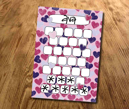 Star chart, Pink and Purple Hearts, Reward Chart, Behaviour Chart, Sticker