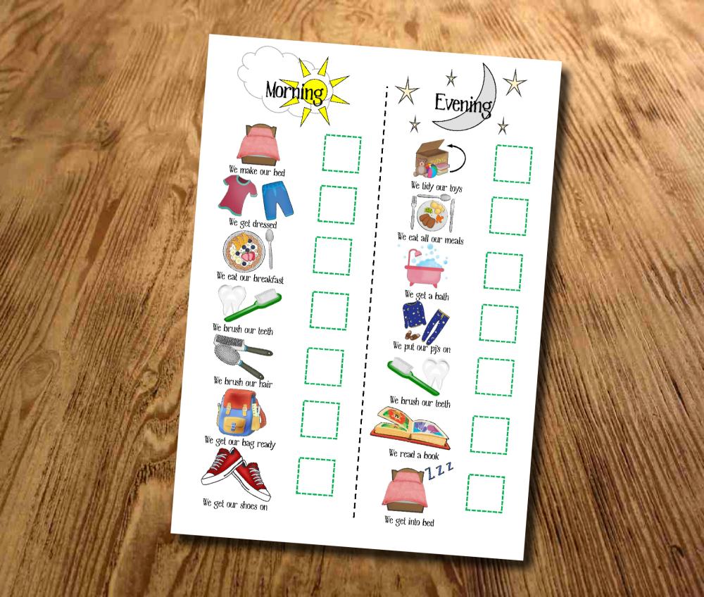 Kids, Morning and Evening, Routine chart, Daily Checklist, Kids Planner, Wi