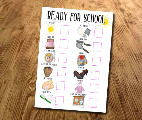 Kids, Ready for School, Girls, Morning Our 'Ready for School' routine chart