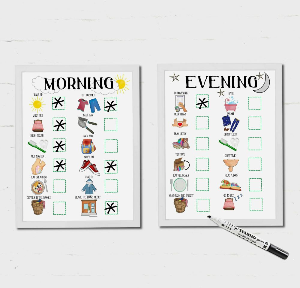 Kids Schedule, Morning and Evening Routine, For Boys and Girls, Checklist,