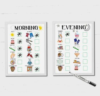 Kids Schedule, Morning and Evening Routine, For Boys and Girls, Checklist, Dry erase Chart, Learning and Communication