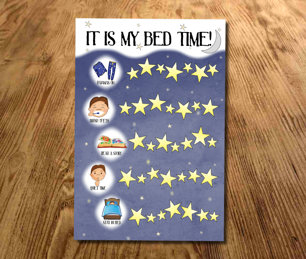 Bed time Reward Chart, Sticker Chart, Sleep chart, Toddler, Boys bed time r