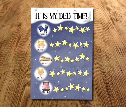 Bed time Reward Chart, Sticker Chart, Sleep chart, Toddler, Girls bed time