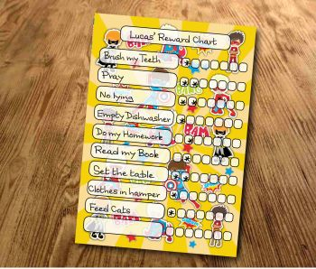 Chore chart, Star Chart, Superhero Reward Chart, daily Reward Chart, kids routine chart