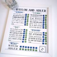Family Framed Magnetic Reward Chart, Daily routine chart for boys with treats. Chores, jobs and Behaviours