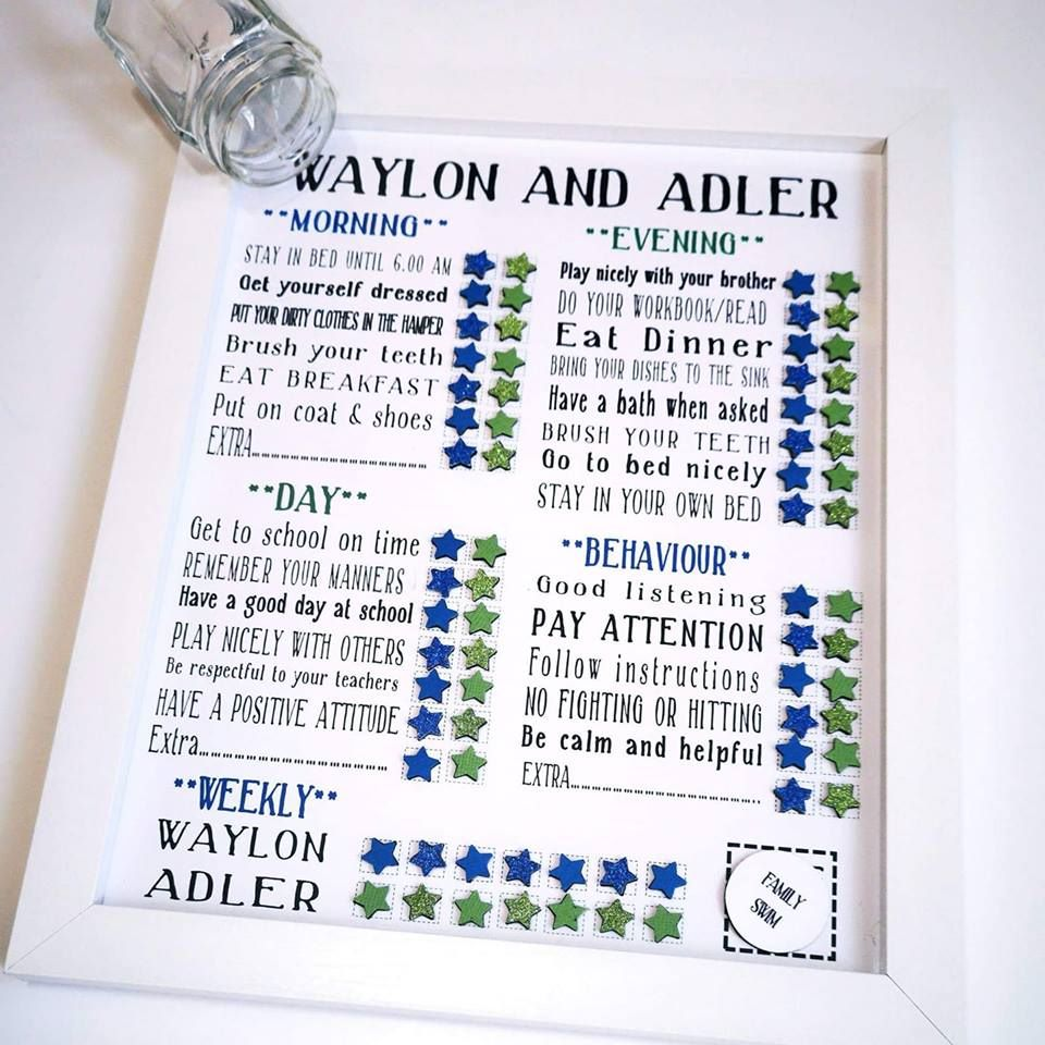 Family Framed Magnetic Reward Chart, Daily routine chart for boys with trea
