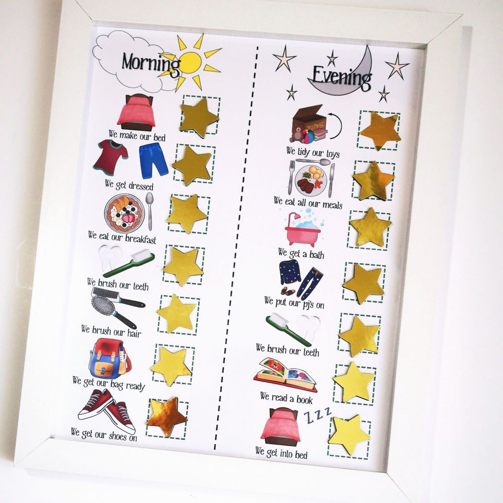 Kids Morning and Evening Routine, For Boys and Girls, Checklist, Magnetic S