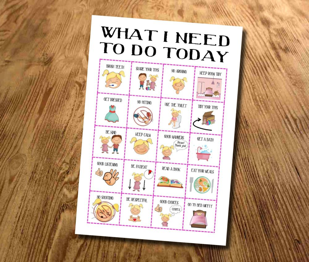 Kids, What I need to do today, Routine chart, Daily Checklist, Kids Planner